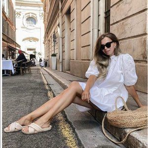H&M Blogger Favorite White Embroidered Dress M